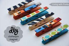 DIY Clothespin-magnets