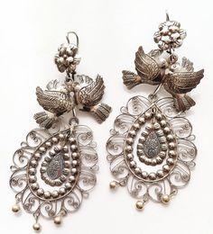 Frida Style earrings Flower Lovebirds and filigree. by titarubli, $120.00
