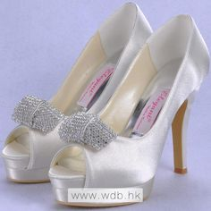 "Fabulous 4.5"" Crystal Bowknot Peep-toe Pumps - Ivory Satin Wedding Shoes (11 colors) $80.98"