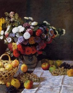 "Oil painting on canvas,""flowers and fruit"",by Claude Monet"