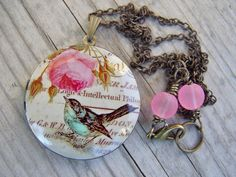Bird Necklace Locket Brass Vintage Look by gristmilldesigns,