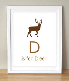 D is for Deer 8x10 Art Print Personalized Baby Boy's room Nursery Decor. $15.00, via Etsy.