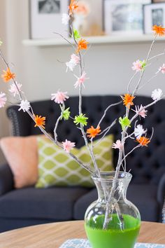 Colorful Crepe Paper Flower Branches | AllFreePaperCrafts.com