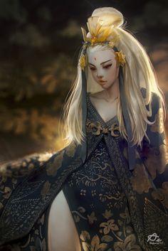 Golden Bird by Aekkarat Sumatchaya Fantasy CGSociety Female Character Design, Character Design Inspiration, Character Concept, Character Art, Concept Art, Fantasy Girl, Chica Fantasy, Fantasy Women, Eden Fantasy