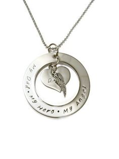 Dad Memorial Necklace, Hand Stamped for Women or Men with angel wing and personalized initials via Etsy