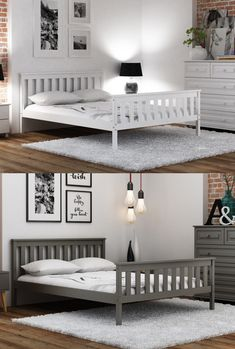 ✔ bed frame is one of the most popular bed frames in our offer. Which colour do you prefer? White or grey? Small Double Bed Frames, Double Beds, Grey Wooden Bed Frame, Stylish Beds, Grey Furniture, New Homes, Bedroom Decor, Colour, Popular