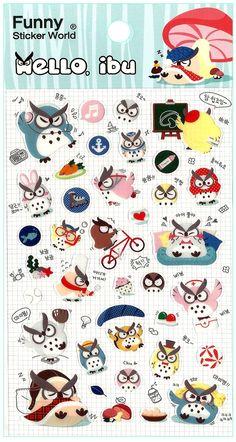 Kawaii Korea Hello Ibu Owl Glossy Sticker Sheet Stickers Kawaii, Love Stickers, Funny Stickers, Kawaii Stationery, Letter Set, Hobonichi, Bullet Journals, Sticky Notes