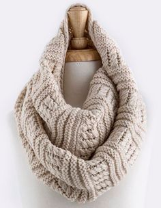 "gorgeous cable knit woven infinity scarf - Approx. 13"" width x 52"" length - Color: oatmeal - material: acrylic"