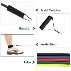 Ankle Straps -... with Door Anchor 4 Foam Handles ohderii Resistance Band Set