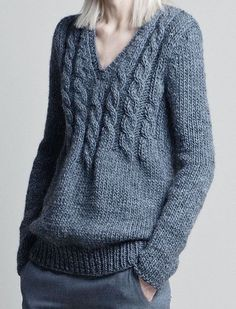 Free Knitting Pattern for Lovely Cable Sweater - Long sleeved pullover features a neckline that blends into a casual cable. Sweater Knitting Patterns, Cardigan Pattern, Knitting Designs, Knit Patterns, Pull Torsadé, Knit Fashion, Knit Or Crochet, Pulls, Knitted Hats