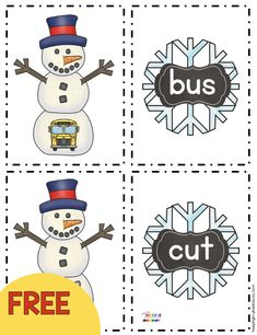 FREEBIE Snowman CVC words – January Math and Literacy centers for kindergarten a… – Crafts Kindergarten Freebies, Kindergarten Centers, Kindergarten Reading, Arts And Crafts For Teens, Art And Craft Videos, Sight Words, Literacy Stations, Literacy Centers, Writing Centers