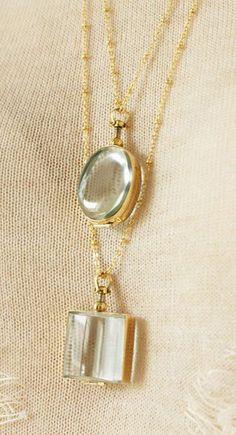 Oval beveled glass locket necklace