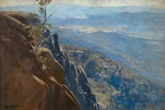 Arthur Ernest Streeton (Australie, The Blue Depths - 1914 Mountain Paintings, Nature Paintings, Landscape Paintings, Oil Paintings, Australian Painting, Australian Artists, Watercolor Landscape, Abstract Landscape, Australia Landscape