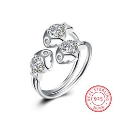 925 Sterling Silver Three Fishes Opening Ring