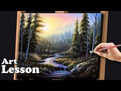 Acrylic landscape painting lesson - Colorful sky with mountain stream