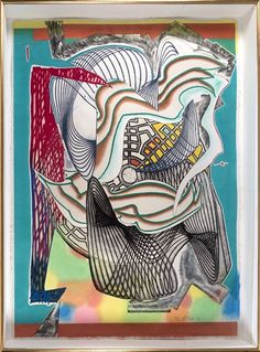 "Artwork by Frank Stella, Funeral"" from the ""Moby Dick Domes"" series, Made of Relief-printed etching, aquatint and engraving in colors, on shaped TGL handmade hand-colored paper Frank Stella Art, Modern Art, Contemporary Art, Alberto Giacometti, Action Painting, Mixed Media Artwork, Art Studies, Geometric Art, Paintings For Sale"
