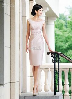 Very Pretty Simple is more! Wholesale Mother of the Bride Dresses - Buy Mother of Bride Dress Scoop Neckline Nude Cummerbund Waist Pleat Sexy Sheath Knee Length MD006, ...