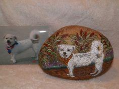 Pet Portrait on a Rock or Slate by Lynnesueart on Etsy