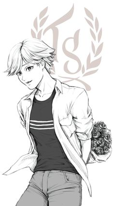 Adrien with flowers (Miraculous Ladybug)