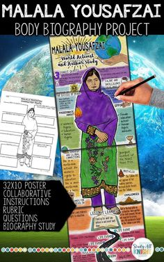This Malala Yousafzai Body Biography Project is filled with all you need to teach and promote the youngest Nobel Prize laureate, author, and world activist. This is truly unique, bringing together a growth mindset and a biography study. If your students are reading the text, I am Malala, this type of activity is a great way to kick it off! Learn all there is to know about one of the most influential women's rights advocates in the world. #womenshistory #malala #middleschoolteacher #IamMalala