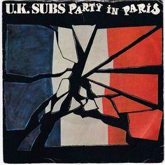 "UK Subs - Party in Paris, 7"" single, orange vinyl, GEMS 42, c.1980, punk #vinyl"