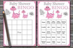 Pink dinosaur baby shower bingo, 60 dinosaur Baby Shower Bingo Cards, mom and son baby shower Bingo, Printable Blank & PreFilled Baby Bingo, Baby Shower Bingo, Baby Shower Cards, Baby Shower Printables, Shower Games, Baby Shower Gifts, Blank Bingo Cards, Free Diapers, New Baby Products
