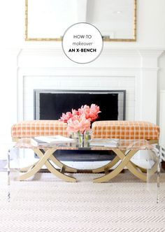 Living Room - Target Bench - Lucite Table - Acrylic Furniture - Home Decor Acrylic Furniture, Glass Furniture, Diy Furniture, Furniture Projects, X Bench, Benches, Lucite Table, Style Me Pretty Living, My Living Room