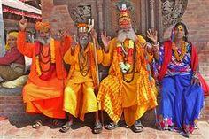 PHOTO: Sadhus pose for photo in Durbar Square, Kathmandu, Nepal