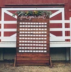 Our seating chart will be similar to this! Perhaps reuse our hanging ceremony piece for this? Or create new. Wall Seating, Seating Cards, Vintage Country Weddings, Seating Chart Wedding, Wedding Chairs, Wedding Place Cards, Flower Centerpieces, Here Comes The Bride, Wedding Inspiration