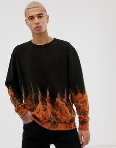 Reclaimed Vintage sweatshirt with flame effect tie dye at ASOS. Brown Leather Jacket Men, Vintage Leather Jacket, Denim Jacket Men, Tie Dye Sweatshirt, Tie Dye Shirts, Hoodie, Bleach Tie Dye, Tye Dye, Batik Mode