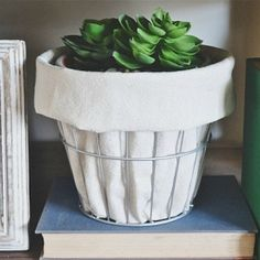 Come see how to make a simple planter with a wire basket and scrap drop cloth pieces.