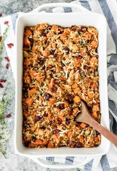 A cozy and filling chicken and wild rice casserole made with butternut squash and cranberries. This easy and healthy chicken dinner is a winner every time!