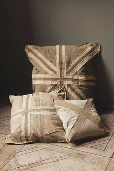 Canvas Pillow Cover with British Flag Applique and Zipper Closure, three sizes $42.00 - $84.00