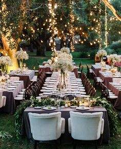 Outdoor Wedding Reception - Beautiful, lots of fairy lights