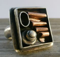 One of a Kind Sterling Silver and Copper Ring