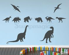 Prehistoric Dinosaurs Vinyl Wall Decal for Baby Boy by stampmagick