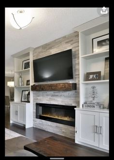 Fireplace Built Ins, Home Fireplace, Fireplace Remodel, Living Room With Fireplace, Fireplace Design, Fireplace Ideas, Basement Fireplace, Fireplace Shelves, Living Room Brick Wall