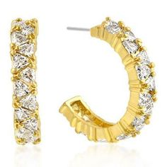 Freedom Fashion Elegant Goldtone Finish Cubic Zirconia Hoop Earrings