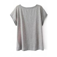 LUCLUC Grey Retro Floral Printed Short Sleeve T-Shirt ($19) ❤ liked on Polyvore featuring tops, t-shirts, grey tee, grey t shirt, short sleeve t shirts, short sleeve tees and grey top