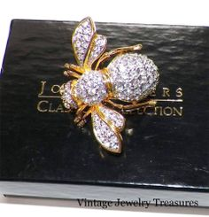 JOAN RIVERS Clear Crystal Gold Tone Bee Pin New in Box
