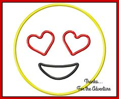 Heart Face Eyes Emoji  Digital Embroidery Machine Applique Design File 4x4 5x7 6x10 by Thanks4TheAdventure on Etsy