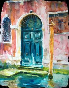 A step by step watercolor tutorial of a blue door onto a Venice Canal! artist Jennifer Branch