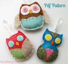 Felt Owl PDF Pattern Ornaments Hand Sewing by lovahandmade on Etsy