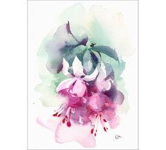 Fuchsia  Original Watercolor Painting Flowers 8.5 x 11.5
