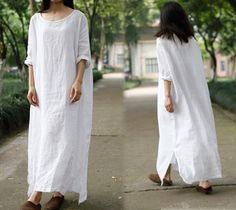 200surdimensionné robe lin robe longue blanche Maxi robe par EDOA