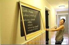 framed chalkboard painted directly on the wall - love this simple idea!!