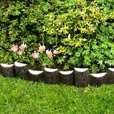 Resultado de imagem para playset edging logs - ML CapeCod - Re-Wilding Garden Border Edging, Lawn Edging, Garden Borders, Garden Paths, Garden Art, Small Gardens, Outdoor Gardens, Backyard Playset, Landscape Edging