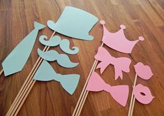 Photo Props: Gender Reveal Party Set (10 Pieces) - baby shower party die cut bow tie mustaches stick photo booth prop
