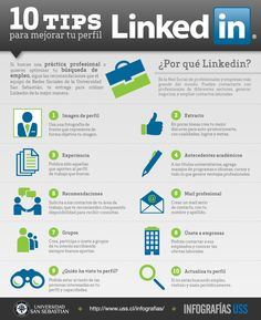 10 consejos para mejorar tu perfil de Linkedin Vía: www.uss.cl/infografias/ #infografia #infographic #socialmedia