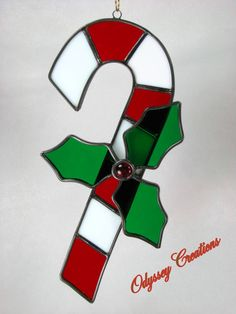 Candy Cane Christmas Leaded Stained Glass Window Decoration or Suncatcher
